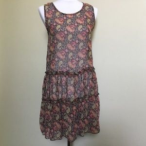 NWT $59 FREEWAY paisley chiffon Tier Tunic dress S